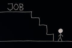 Человек на дне лестниц ища работа, подготавливает для того чтобы преуспеть, необыкновенная концепция Стоковые Фотографии RF