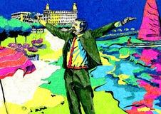 Человек на празднике Бесплатная Иллюстрация