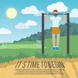 Человек на плакате фитнеса бара тяги-вверх Стоковое Фото