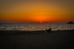 Человек на пляже Стоковое фото RF
