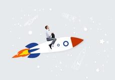 Человек на ракете иллюстрация штока