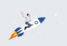 Человек на ракете Стоковые Изображения