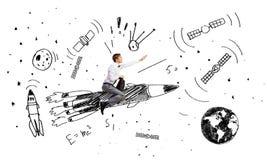 Человек на ракете иллюстрация вектора