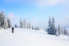 Человек на снежной лужайке Стоковое фото RF