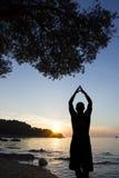 Человек на солнце побережья салютуя Стоковое Изображение RF