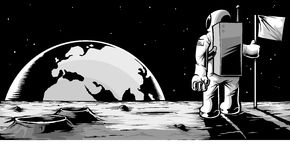 Человек на луне Стоковое Фото