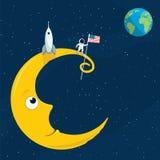 Человек на луне Стоковая Фотография RF