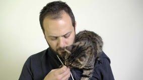 Человек носит котенка на его плече и он заботит - подобия котенок акции видеоматериалы