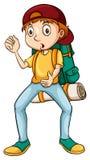 Человек нося рюкзак иллюстрация вектора