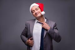 Человек нося santa в смешной праздничной концепции Стоковая Фотография RF