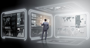 Человек отжимая виртуальную кнопку в концепции сбора данных стоковая фотография
