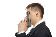 Человек отчаяния с оружием стоковые изображения rf