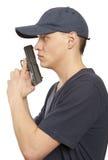 Человек отчаяния с оружием стоковое фото