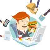 Человек офиса битника есть сандвич на его рабочем месте Плоский стиль Стоковое Изображение