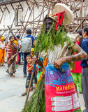 Человек одетый с травой в фестивале GaijatraThe коров Стоковая Фотография