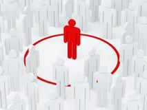 Человек одиночества окружил красный круг среди толпы (3D представляют) Стоковые Изображения