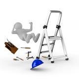 Человек падает от лестницы на белой предпосылке Стоковые Изображения