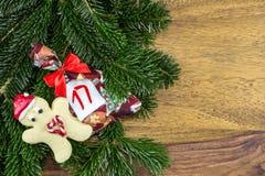 Человек печенья и сумка рождества Стоковые Изображения RF