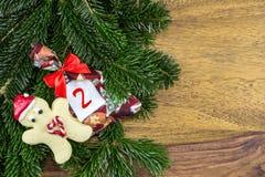 Человек печенья и сумка рождества Стоковые Изображения