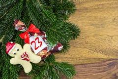 Человек печенья и сумка рождества Стоковое Изображение