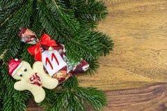 Человек печенья и сумка рождества Стоковая Фотография