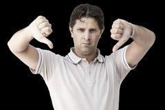 Человек показывая оба большого пальца руки вниз Стоковое Изображение
