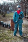 Человек - портрет игрока пейнтбола Стоковые Изображения RF