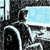 Человек потребителя в темной иллюстрации вектора Стоковые Изображения RF