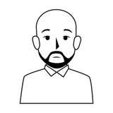 Человек половинного тела силуэта облыселый с бородой Стоковая Фотография RF
