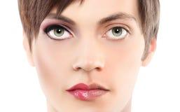 Человек половинной женщины портрета половинный, концепция андрогини стоковое изображение rf