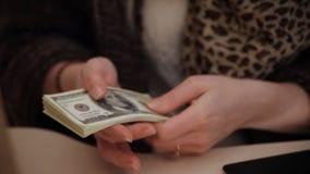Человек подсчитывает крупный план денег сток-видео