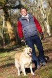 Человек принимая собаку на прогулке через древесины осени Стоковые Фотографии RF