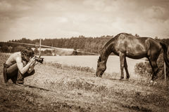 Человек принимая фото коричневой дикой лошади Стоковая Фотография RF