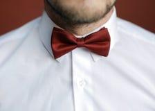 Человек при борода исправляя его bowtie Стоковое фото RF