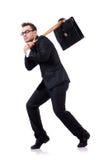 Человек при изолированная бейсбольная бита Стоковое Фото