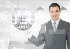 Человек при открытая рука ладони держа глобус глобуса земли мира с интерфейсом Стоковая Фотография