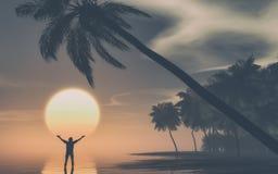 Человек при поднятые руки Стоковая Фотография RF
