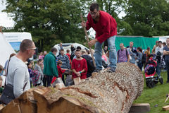 Человек продольно отрезал вверх ствол дерева для того чтобы построить шлюпку На торжестве старых Викингов Осло Норвегия Стоковые Изображения RF