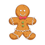 Человек пряника в стиле эскиза Символ рождества Стоковая Фотография RF