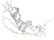 Человек путешествуя в графике поезда спать-автомобиля Стоковое Фото