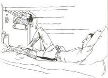 Человек путешествуя в фуре спать-автомобиля Стоковое Изображение