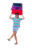 Человек путешествуя при изолированные чемоданы Стоковое Изображение RF