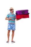 Человек путешествуя при изолированные чемоданы Стоковые Фото