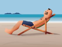 человек пляжа ослабляя Стоковое Фото
