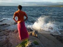 человек пляжа сиротливый Стоковое Фото