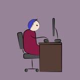 Человек работая крепко на его компьютере Стоковое Изображение