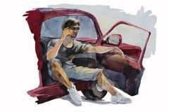 Человек раскрывает дверь его автомобиля для того чтобы поговорить мобильный телефон Стоковое Фото