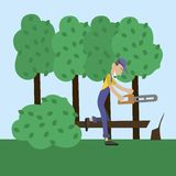 Человек резал древесину Стоковая Фотография RF