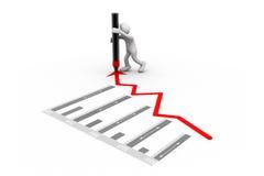 Человек рисуя диаграмму роста Стоковые Изображения RF