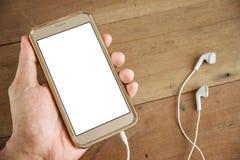Человек руки держа smartphone передвижной стоковые изображения rf